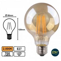 Lâmpada LED E27 8W 700lm 2.000K Globo Vintage