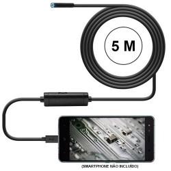 Câmara de inspecção visual (boroscópio) USB para computador e Android - 5m