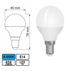 Lâmpada LED E14 7w Esferica G45 6500k 638lm