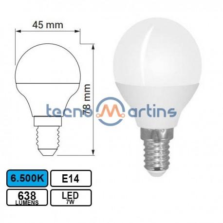 Lampada Led E14 7w Esferica G45 6500k 638lm