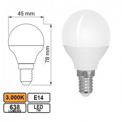 Lâmpada LED E14 7w Esferica G45 3000k 638lm