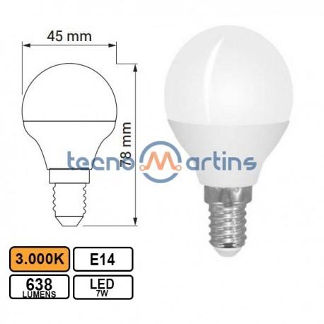 Lampada Led E14 7w Esferica G45 3000k 638lm