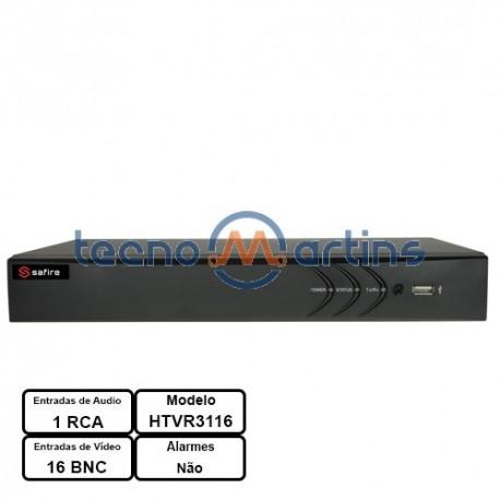 Gravador DVR de Vídeo 5em1 16CH HD-TVI / HDCVI / AHD / CVBS / 2 IP (1080pLite/720p) - Safire HTVR3116