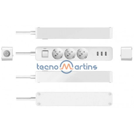 Extensão 1.5mt C/ 3 Tomadas AC- 3x USB 5V 2A 1,8mt - Branca