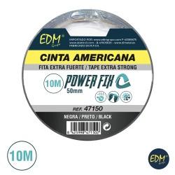Fita Adesiva Multiuso Americana 10mx50mm Preta - EDM
