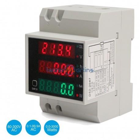 Voltímetro / Amperímetro Digital LED 80-300VAC/0.1-99.9AAC-0.0-3000W