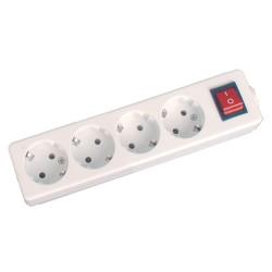 Tomada Elétrica C/ 4 Saídas Interruptor Branco