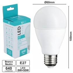 Lâmpada LED E27 8w Globo A60 4500k 640lm