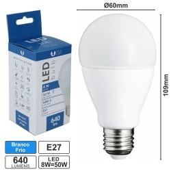 Lâmpada LED E27 8w Globo A60 6000k 640lm