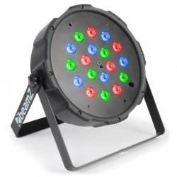 Projector LED PAR FLAT 18x1W RGB DMX c/ Bateria - BeamZ
