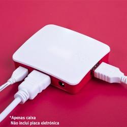 Caixa Branca e Vermelha P/ Raspberry Pi A+ / Pi 3 A+ - Oficial Raspberry PI
