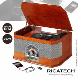 Gira-Discos 33/45/78Rpm FM/AM/USB - RICATECH