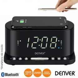 Relógio Despertador FM QI/USB - Denver