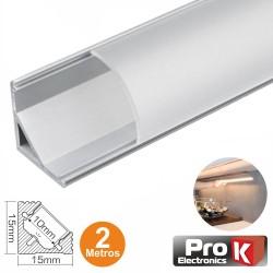 Perfil de Alumínio P/ Fita Leds 2M de Canto - Prok