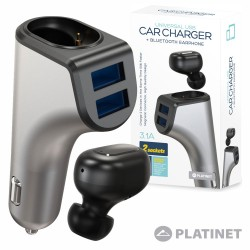 Auricular Bluetooth Ficha Isqueiro 2 Usb - Platinet