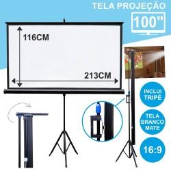 """Tela Projeção Com Suporte Tripé 100"""""""