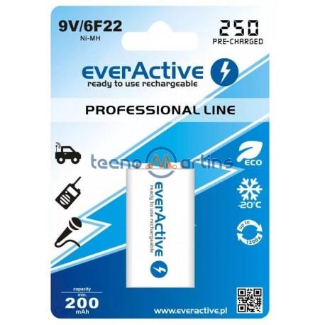 Bateria NiMh 9V 6F22 250mAh (min 200mAh) RTU - everActive