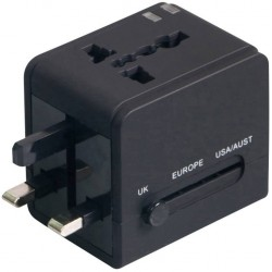 Ficha Adapt. Universal de Viagem C/ 2 USB Preto - Omega