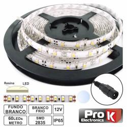 Fita 300 LEDs 2835 Impermeável Branco Frio 12V 5M Prok