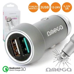 Adaptador Isqueiro Quick Charge3.0 2Usb 5-12V 3A - Omega