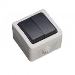Comutador de Escada duplo Estanque 10A 250V IP54 - Cinzento - GSC