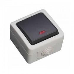 Comutador Estanque 10A 250V IP54 C/ LED - Cinzento - GSC