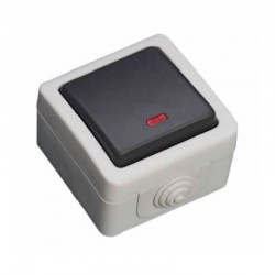 Pulsador Estanque 10A 250V IP54 C/ LED - Cinzento - GSC