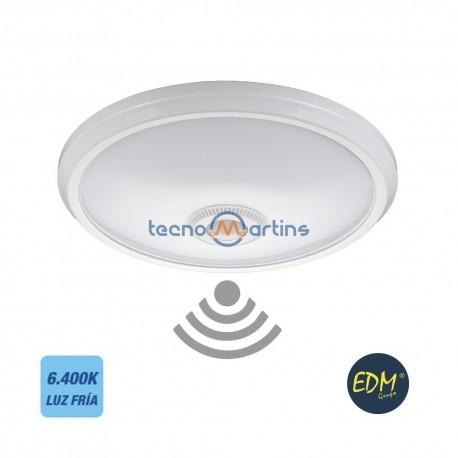 Candeeiro Plafon em LED 16W Branco 6400K 1100Lm c/ Sensor Movimento 360º - EDM