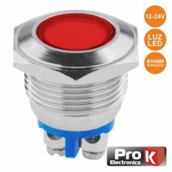 Interruptor Piloto Painel Redondo 18mm 12-24v Vermelho - ProK