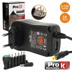 Alimentador 3-12v 2a 24w Compacto Comutado - Pro K