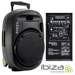 "Coluna Ibiza 700w 12"" Amplificada USB/BT/SD/BAT VHF Preta - IBIZA"