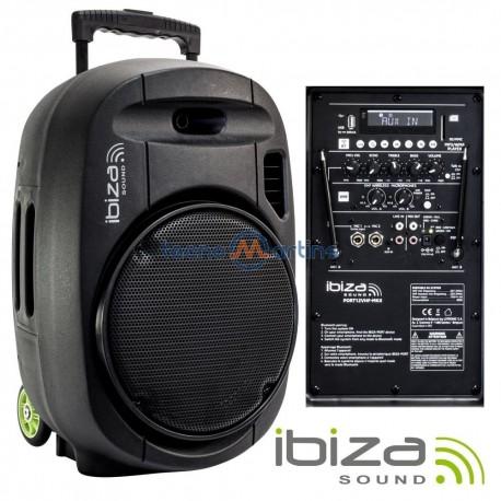 "Coluna Portatil 700w 12"" Amplificada USB/BT/SD/BAT VHF Preta - IBIZA"