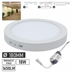 Painel LED redondo de superfície 230V 18W 1650lm 6000K Ø180mm IP44