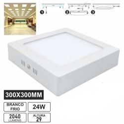 Painel LED quadrado LGP de superficie 230V 24W 2040lm 6000K Ø300mm