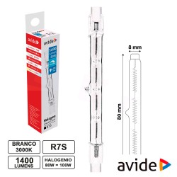 Lâmpada Halog R7s 78mm 80w /100w 230v 1400lm - Avide