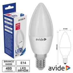 Lampada Led E14 6w 230v 6400k 480lm Vela - Avide