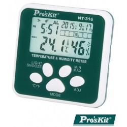 Termómetro Digital Interior Relógio c/ Alarme - Proskit
