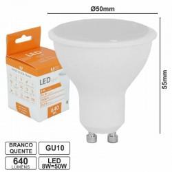 Lâmpada GU10 8W/50W 230V LED Branco Quente 640lm