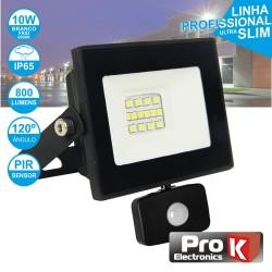Projector LED 10w 230v Ip65 6000k 800lm Foco C/ Sensor Preto - ProK
