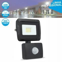 Projector Led 10w 230v Ip65 6000k 800lm Foco C/ Sensor Preto