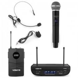 Central 2 Microfones UHF 2 Canais s/ Fios (Mão e Cabeça) - VONYX