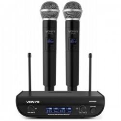 Central 2 Microfones Mão UHF 2 Canais s/ Fios - VONYX