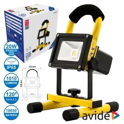 Projector LED 20W 230V e Bateria 6400k 1010lm IP65 - Avide