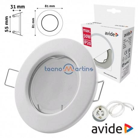 Aro Redondo Fixo Branco P/ MR16-GU10 - AVIDE
