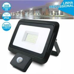 Foco LED 30W 230V C/ Sensor 6000k 2400lm Preto