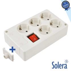 Tomada Elétrica C/ 5 Saídas Schuko Interruptor - SOLERA