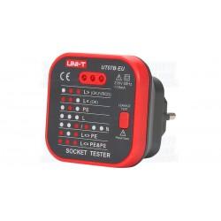 Testador de Tomadas de Corrente 220V AC + RCD - UNI-T