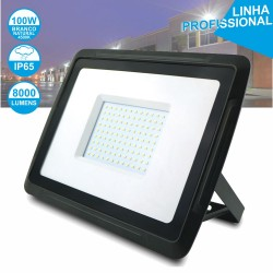Foco LED 100W 230V Branco Natural 8000lm Preto