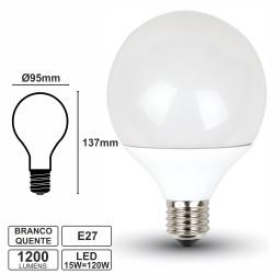Lâmpada E27 15W/120W 230V LEDS Globo Branco Quente 1200lm