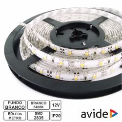 Fita C/ 300 LEDs 2835 12v 4.8W-mt (24w) Branco Frio 5Mt - Avide
